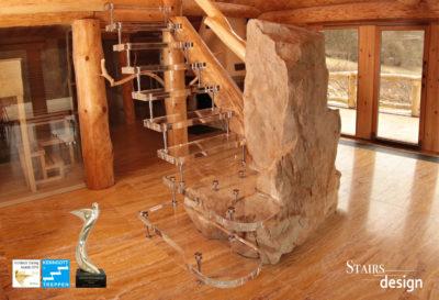 skleněné samonosné schodiště