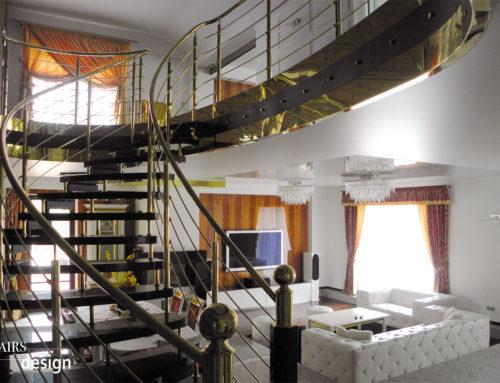 RD Kladno – kamenné samonosné schodiště